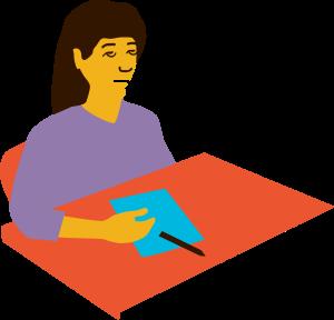 Illustration av en person som får ett absensanfall när den sitter vid en skolbänk.