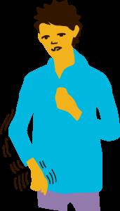 Illustration av en person som får ett fokalt anfall när den står upp.