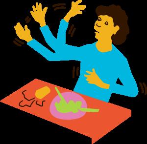 Illustration av en person som får ett myokloniskt anfall (muskelryckningar i armar, ben eller huvud) när den sitter och äter mat.