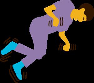 Illustration som ligger ner på golvet och får ett toniskt-kloniskt anfall.