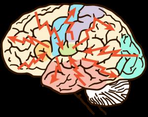 Illustration av hjärnan vid epilepsi, med nio röda blixtar som är riktade från kraniet in mot hjärnans mittpunkt.