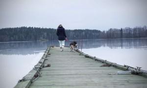 En person (Matilda) som går ut på en brygga med sin hund.
